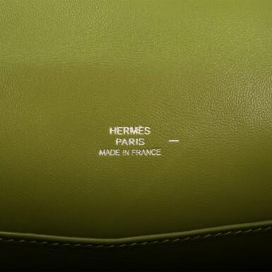 View 6. Thumbnail of Lot 17. Hermès Vert Anis Lizard Mini Kelly Pochette.
