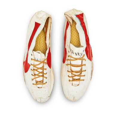 View 5. Thumbnail of Lot 8. Bill Bowerman (Nike Co-Founder) Handmade Prototype Logo Track Spikes With Waffle Sole.