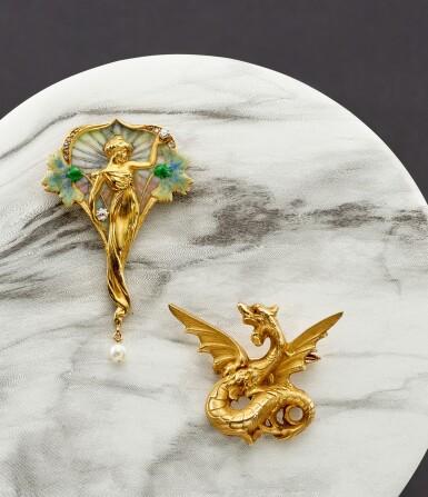 View 5. Thumbnail of Lot 9020. Art Nouveau Enamel, Pearl and Diamond Brooch   新藝術 琺瑯彩 配 珍珠 及 鑽石 胸針.
