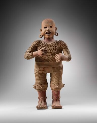 View 2. Thumbnail of Lot 4. Statue en terre cuite Xipe Totec, Culture Aztèque, Classique Récent, 1350-1500 AP. J.-C. | Aztec Ceramic Standing figure of Xipe Totec, Postclassic, 1350-1500 AD.