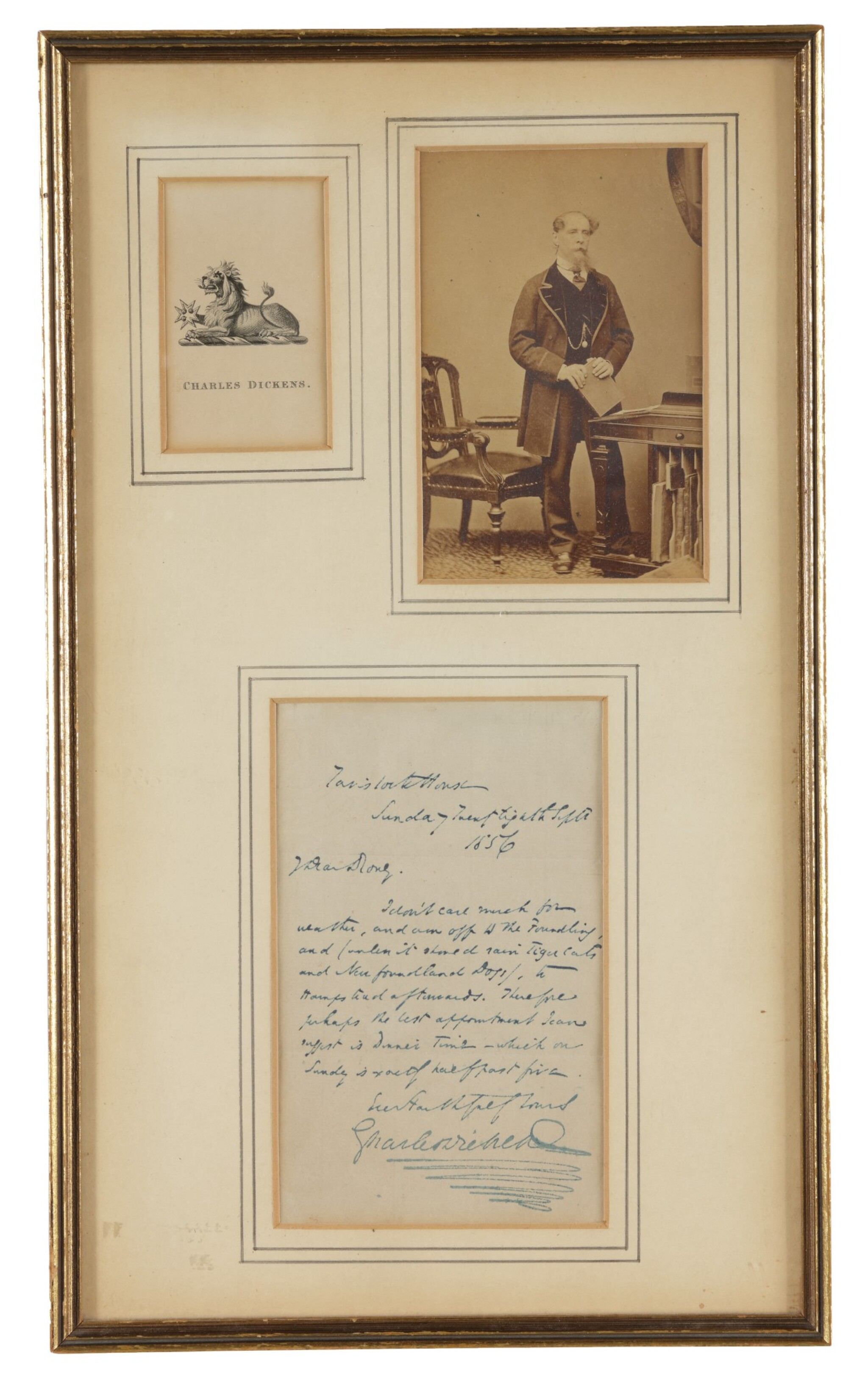 """View full screen - View 1 of Lot 137. DICKENS, CHARLES    Autograph letter signed (""""Charles Dickens""""), to George Dolby, in which he rather whimsically writes about inclement weather, with bookplate and carte-de-visite ."""