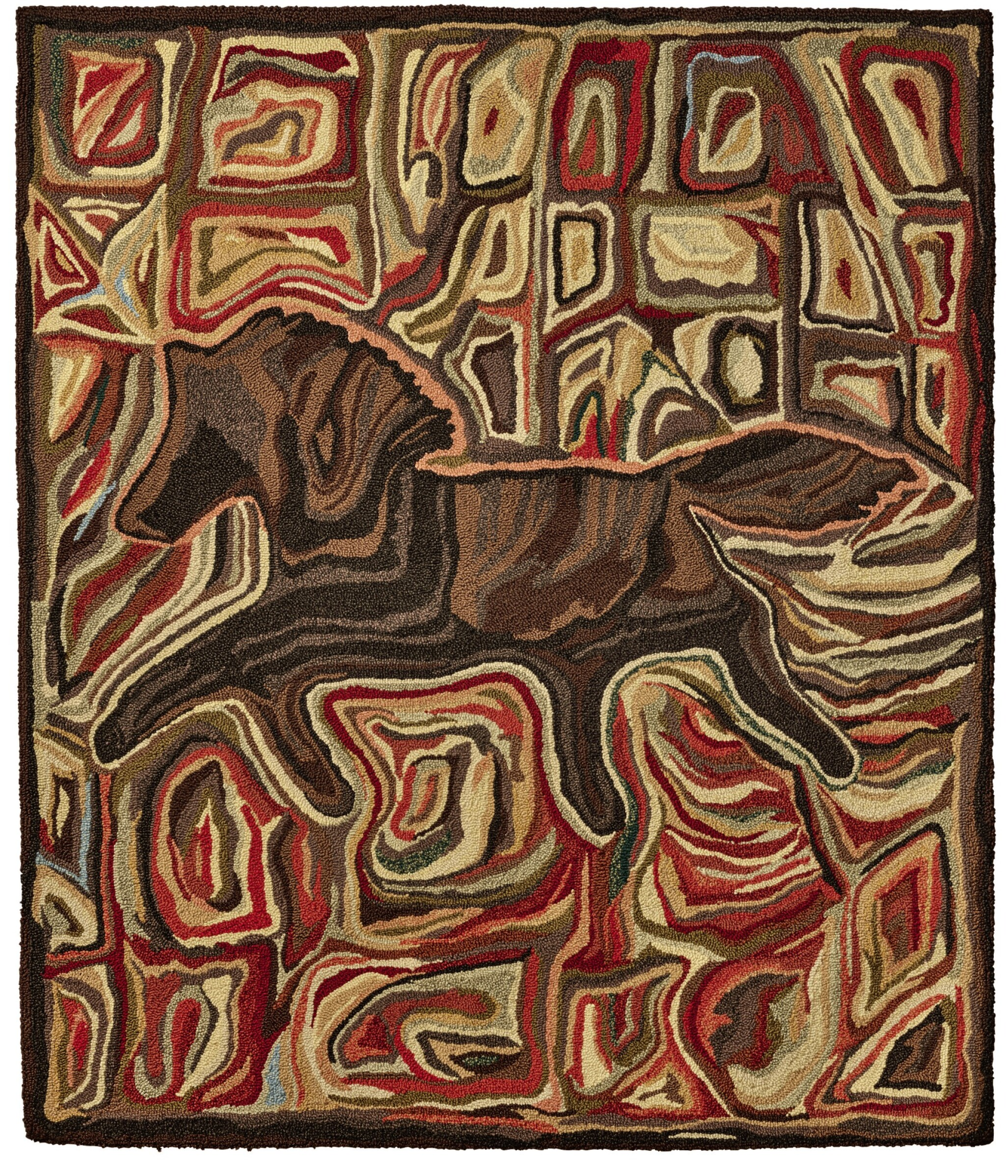View full screen - View 1 of Lot 1460.  'RUNNING HORSE' HOOKED RUG, JOHN ANDERSON, LATE 20TH CENTURY.
