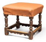 A CARVED WALNUT STOOL, POSSIBLY ENGLISH, EARLY 17TH CENTURY