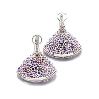 View 3. Thumbnail of Lot 44. MICHELE DELLA VALLE | GEM SET AND DIAMOND EARRINGS.