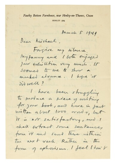View 3. Thumbnail of Lot 202. M. ROTHENSTEIN   archive of c.95 letters by artists and writers to Rothenstein, chiefly 1940s.