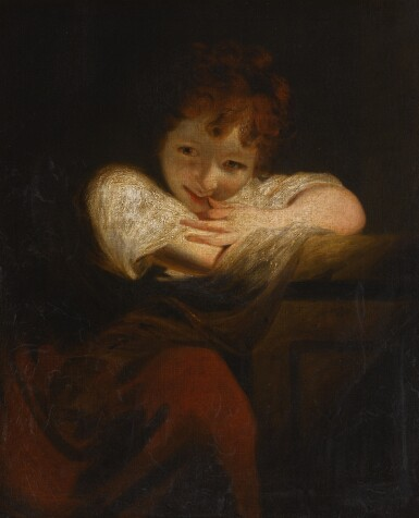 View 1. Thumbnail of Lot 164. SIR JOSHUA REYNOLDS, P.R.A. | Girl leaning on a pedestal, or The Laughing Girl.