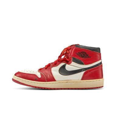 View 3. Thumbnail of Lot 1. Michael Jordan's Game Worn 1985 Player Sample Air Jordan 1s | Sizes 13, 13.5.