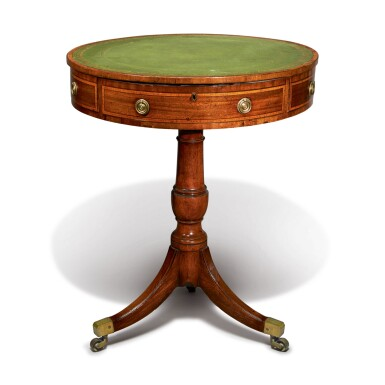 A LATE GEORGE III MAHOGANY DRUM TABLE, CIRCA 1800