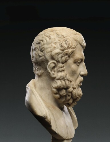 View 2. Thumbnail of Lot 91. A Roman Marble Portrait Bust of Hermarchos of Mytilene, circa 1st Century A.D..