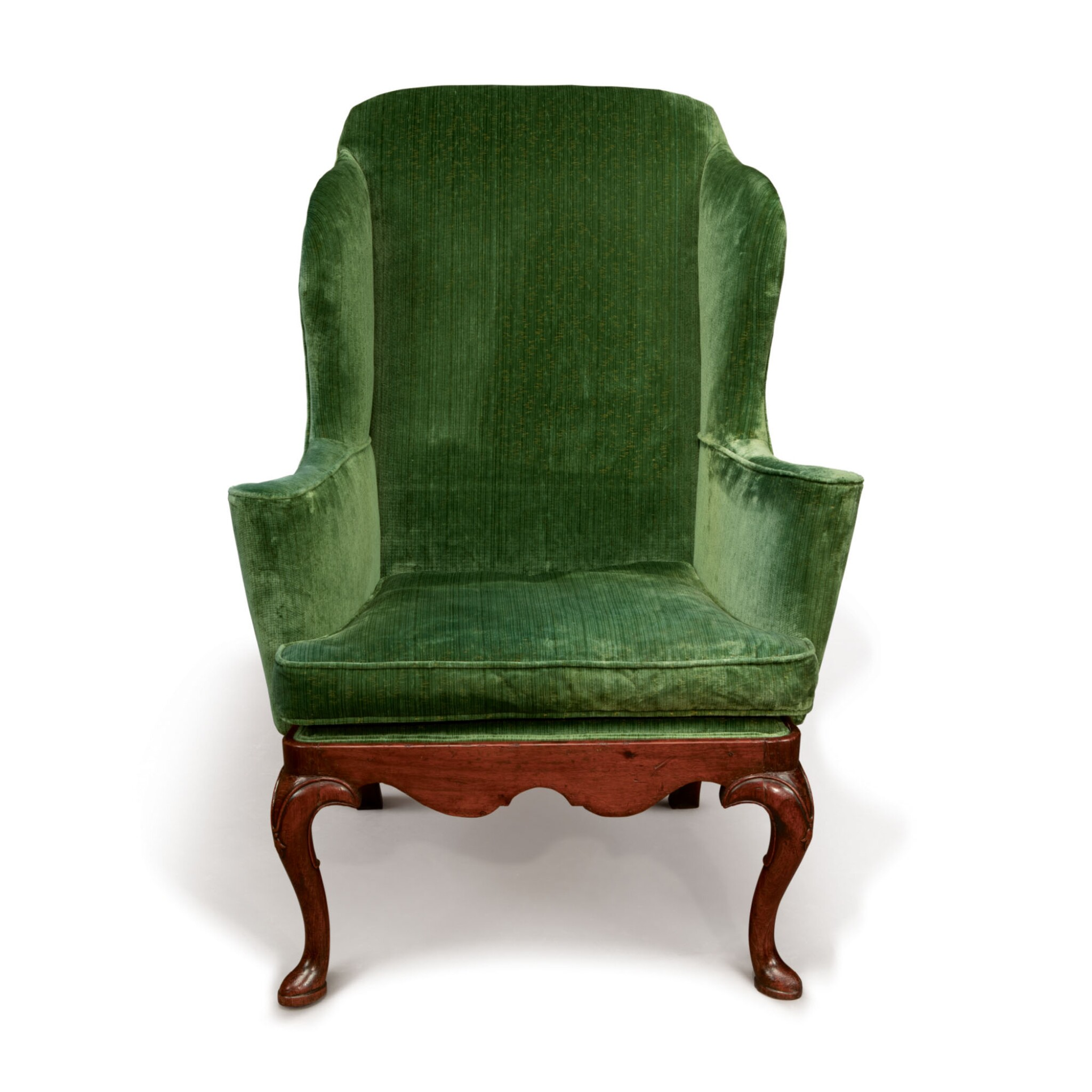 View full screen - View 1 of Lot 555. A QUEEN ANNE WALNUT WING ARMCHAIR, CIRCA 1715.