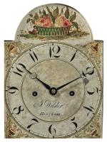VERY FINE AND RARE FEDERAL INLAID AND FIGURED MAHOGANY DWARF CLOCK, WORKS BY JOSHUA WILDER (1786-1860), HINGHAM, MASSACHUSETTS, CIRCA 1820