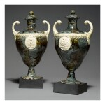 A PAIR OF WEDGWOOD AND BENTLEY CREAMWARE 'PORPHYRY' TWO-HANDLED VASES AND COVERS CIRCA 1780