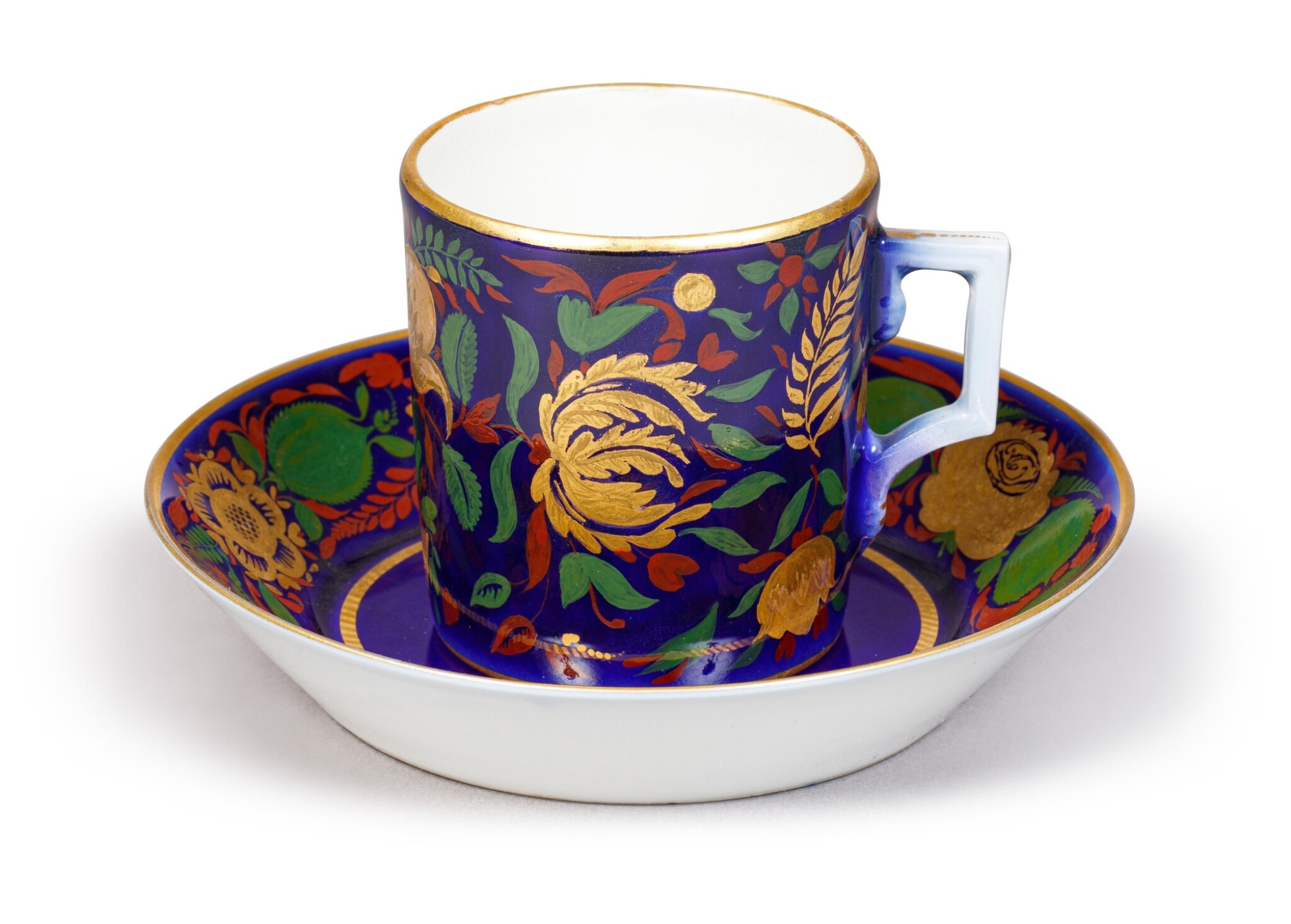 View full screen - View 1 of Lot 148. A Soviet Porcelain Cup and Saucer, State Porcelain Factory, Petrograd, 1922.