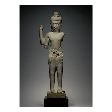 View 1. Thumbnail of Lot 344. A GREY SANDSTONE FIGURE OF SHIVA,  KHMER, BAPHUON STYLE, CIRCA 11TH CENTURY.