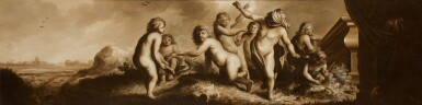 View 1. Thumbnail of Lot 38. CIRCLE OF MOYSES VAN WTENBROUCK | A group of putti in a landscape playing blind man's bluff.