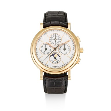 VACHERON CONSTANTIN | PATRIMONY, REFERENCE 49005, A PINK GOLD PERPETUAL CALENDAR CHRONOGRAPH WRISTWATCH WITH MOON PHASES AND LEAP YEAR INDICATION, CIRCA 2000