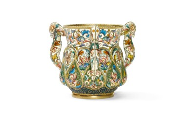 View 1. Thumbnail of Lot 259. A silver-gilt and cloisonné enamel three-handled cup, Feodor Rückert, Moscow, 1899-1908.