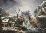 Winter landscape with a waterfall and a peasant family by a cottage