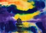 Meer mit Abendhimmel und Segelboot (Sea with Evening Sky and Sailing Boat) | 《黃昏天空下的海和船》