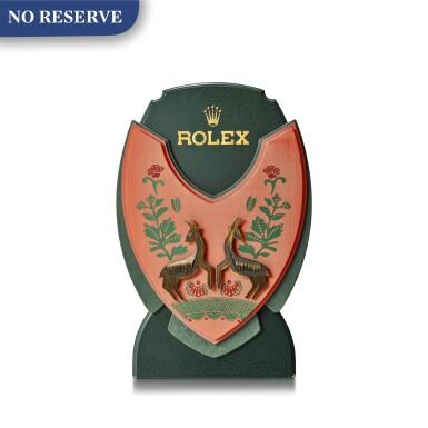 ROLEX | A VELVET AND WOOD RETAILER'S WINDOW DISPLAY, CIRCA 1990