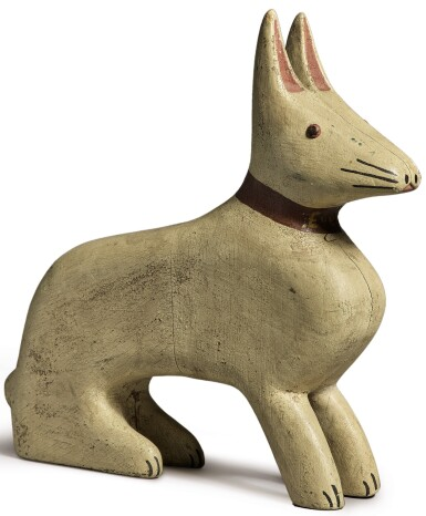 View 1. Thumbnail of Lot 1485. AMERICAN CARVED AND WHITE PAINTED WOODEN RABBIT, CIRCA 1925.