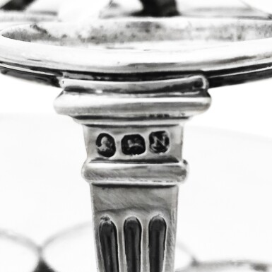 View 3. Thumbnail of Lot 264. A GEORGE III SILVER CRUET SET, WILLIAM BURWASH AND RICHARD SIBLEY, LONDON, 1808.