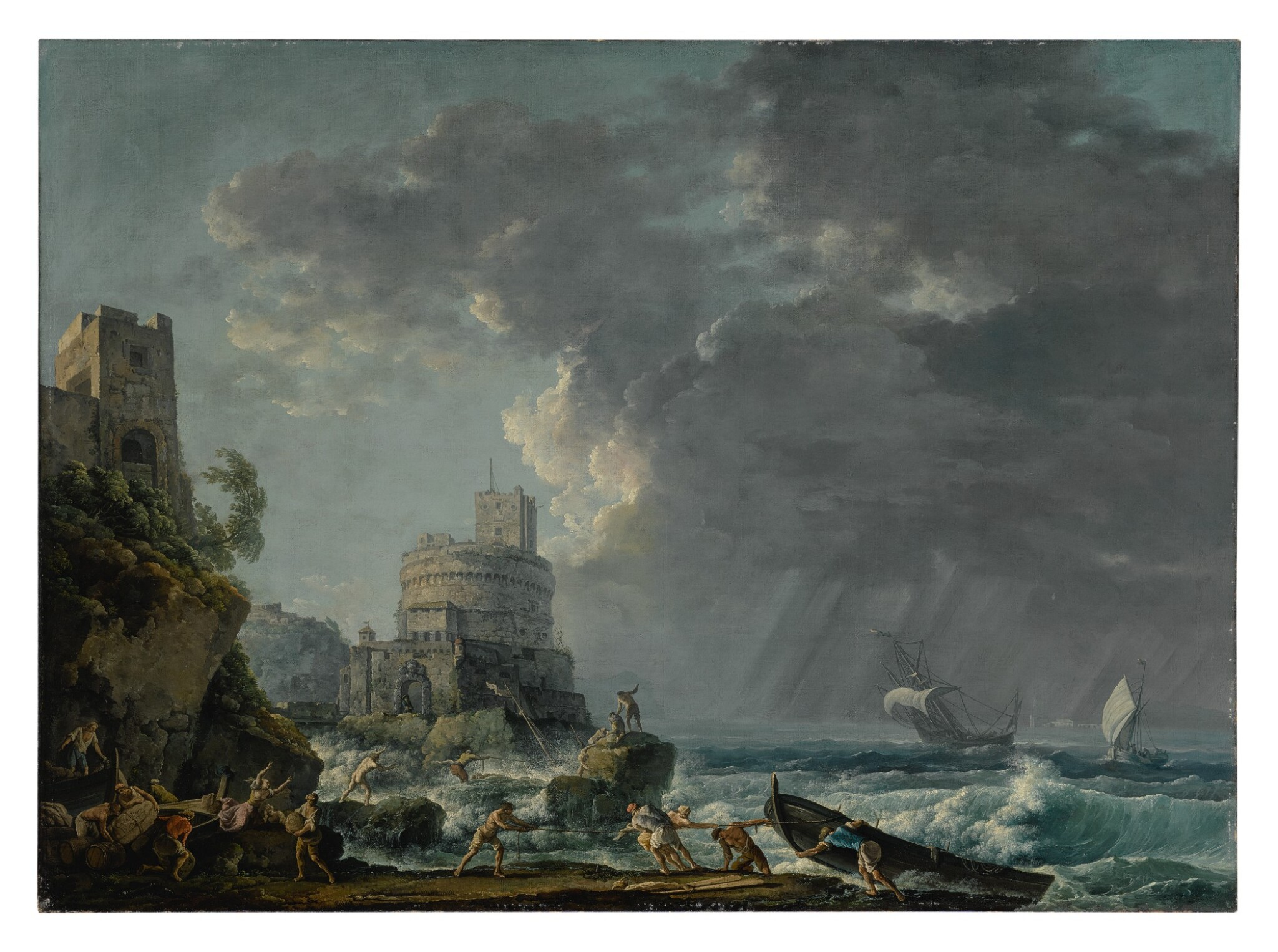 View full screen - View 1 of Lot 605. A storm off a rocky coast, with a shipwreck in the foreground and a fort on the rocky shoreline above.