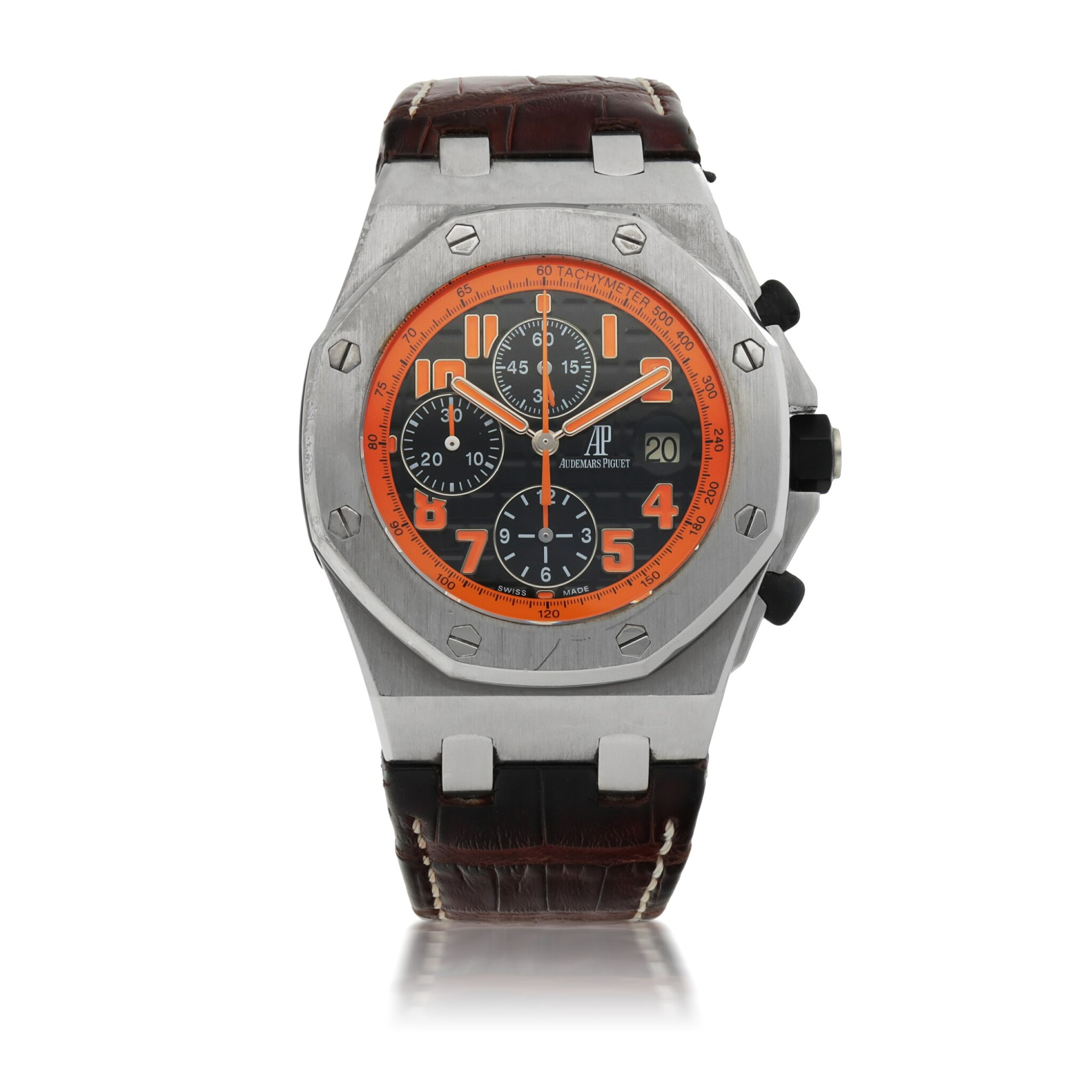 View full screen - View 1 of Lot 1155. AUDEMARS PIGUET |  ROYAL OAK OFFSHORE 'VOLCANO', REF 26170ST.00.D101CR.01 STAINLESS STEEL CHRONOGRAPH WRISTWATCH WITH DATE   CIRCA 2013.