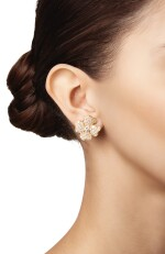PAIR OF GOLD AND DIAMOND 'COSMOS' EARCLIPS, VAN CLEEF & ARPELS, FRANCE