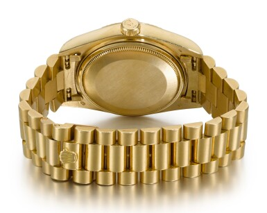 View 3. Thumbnail of Lot 6. ROLEX |  DAY-DATE, REFERENCE 18038, YELLOW GOLD WRISTWATCH WITH DAY, DATE AND BRACELET, CIRCA 1979.