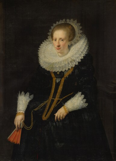 JAN ANTHONISZ. VAN RAVESTEYN | Portrait of a lady, three-quarter length, in a wide lace collar, holding a fan