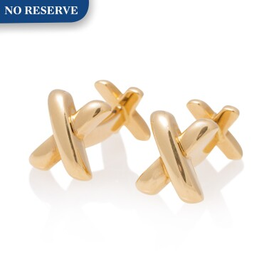 View 1. Thumbnail of Lot 25.  TIFFANY & CO.   PAIR OF GOLD CUFFLINKS.