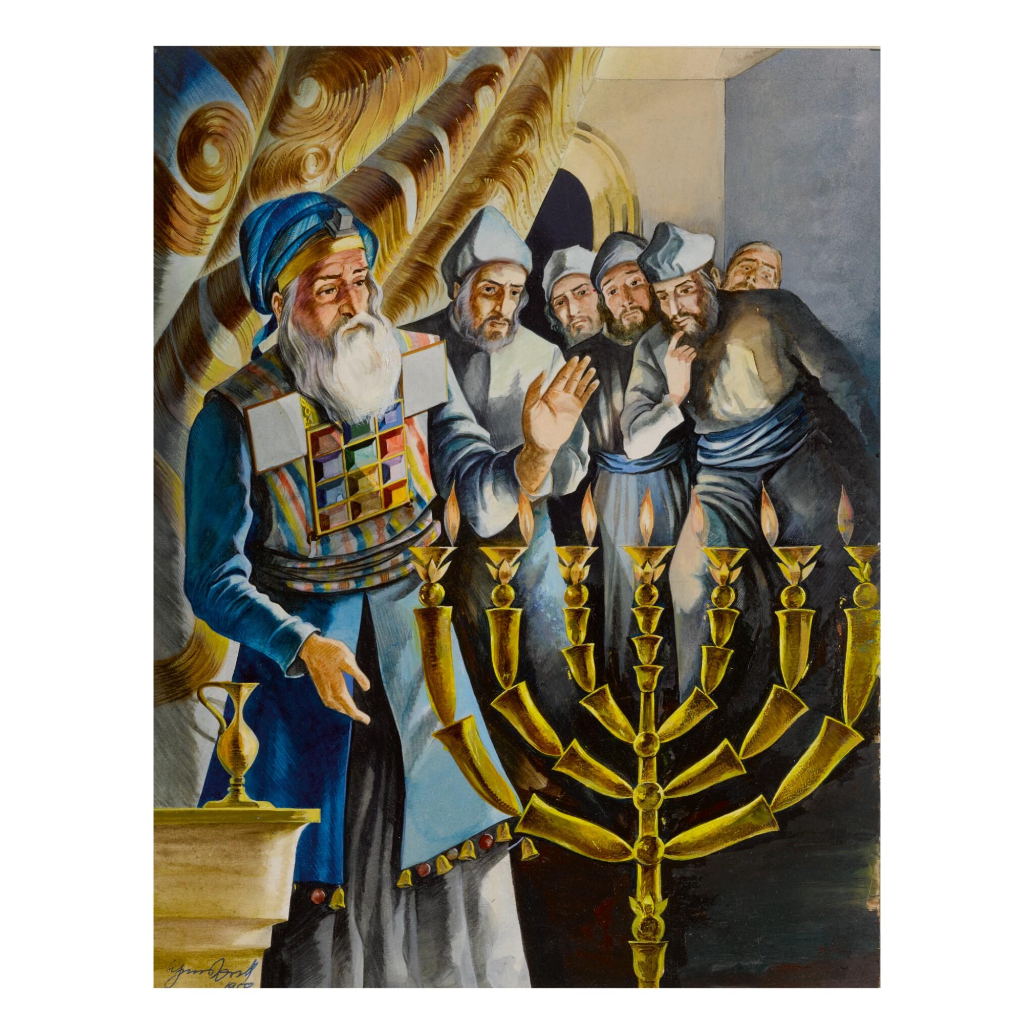 SIEGMUND FORST | REKINDLING THE MENORAH: AN ORIGINAL ILLUSTRATION FOR SAADYAH MAXIMON'S THE BOOK OF HANUKKAH