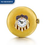 LONGINES   [浪琴]  | A GOLD AND ENAMEL BUTTON HOLE WATCH IN THE SHAPE OF A STYLISED AMERICAN FLAG  CIRCA 1910  [ 黃金畫琺瑯懷錶備袖珍錶盤、飾美國國旗圖案,年份約1910]