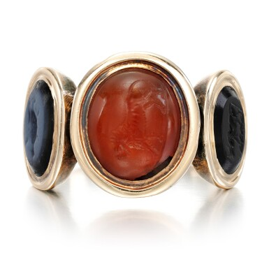 View 1. Thumbnail of Lot 125. Carnelian and onyx intaglio ring, late 18th century.