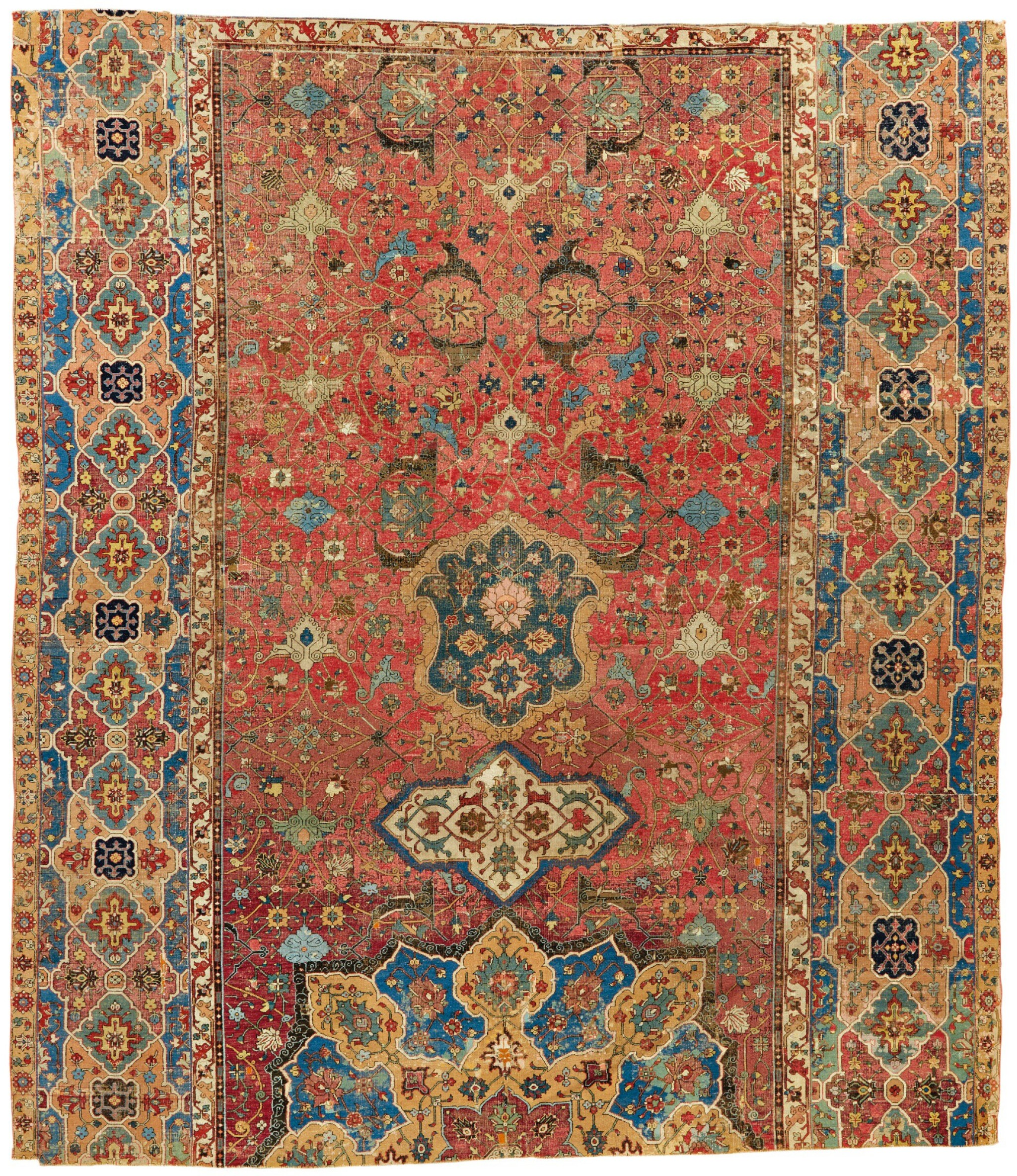 View full screen - View 1 of Lot 266. AN EARLY SAFAVID CARPET FRAGMENT, NORTH WEST PERSIA.