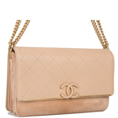 View 2. Thumbnail of Lot 97. CHANEL    BEIGE FLAP BAG OF QUILTED CAVIAR AND SUEDE WITH MATTE GOLD TONE HARDWARE.