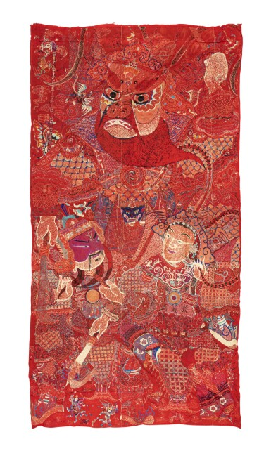 View 5. Thumbnail of Lot 74. Deux grandes tentures d'opéra brodées circa 1900 | 約1900年 刺繡戲曲人物圖掛幅兩件 | Two large Chinese Opera embroideries, ca. 1900..