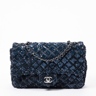View 1. Thumbnail of Lot 41. Dark Blue and Black Classic Single Flap in Quilted Leather and Sequins with Ruthenium Hardware, 2012-2013.
