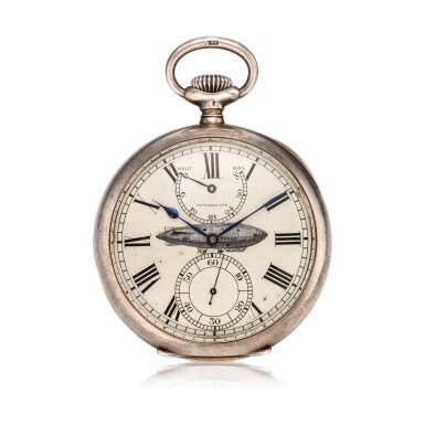View 1. Thumbnail of Lot 397. A rare and unique large open faced watch, used on the airship Norge in the first crossing of the Polar Sea, Made in 1913.