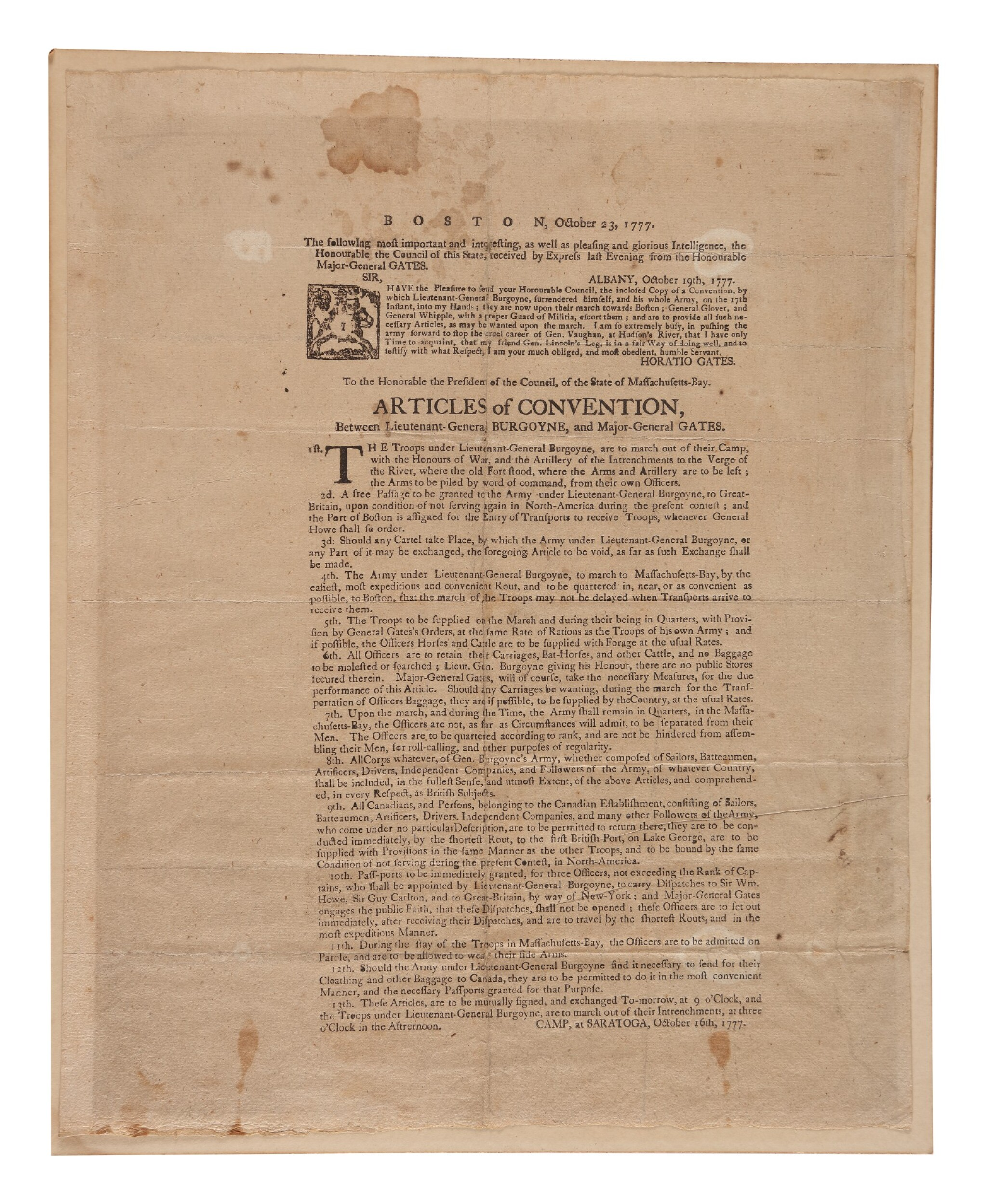 View 1 of Lot 66. Gates, Horatio. A very rare broadside printing of Gates's Articles of Convention with British General Burgoyne after the American victory at Saratoga.
