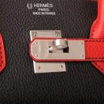 HERMÈS | HORSESHOE STAMPED (HSS) BICOLOR BLACK AND VERMILLION BIRKIN 35CM OF TOGO LEATHER WITH BRUSHED PALLADIUM HARDWARE