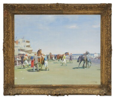 View 2. Thumbnail of Lot 27. SIR ALFRED JAMES MUNNINGS   UNSADDLING AT EPSOM, SUMMER MEETING (STUDY) .