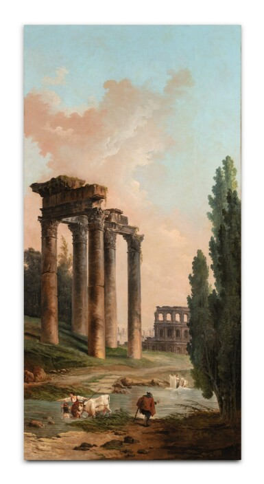 View 2. Thumbnail of Lot 36. Architectural capriccio with ruins of the Campo Vaccino and of the Colosseum.