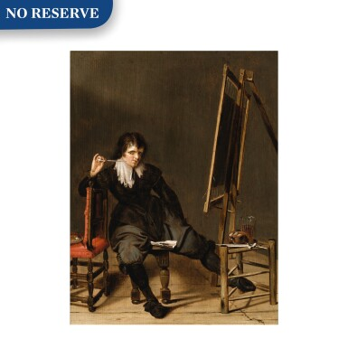 View 1. Thumbnail of Lot 23. An artist in his studio, seated on a stool, in front of an easel, with a pipe raised to his mouth.