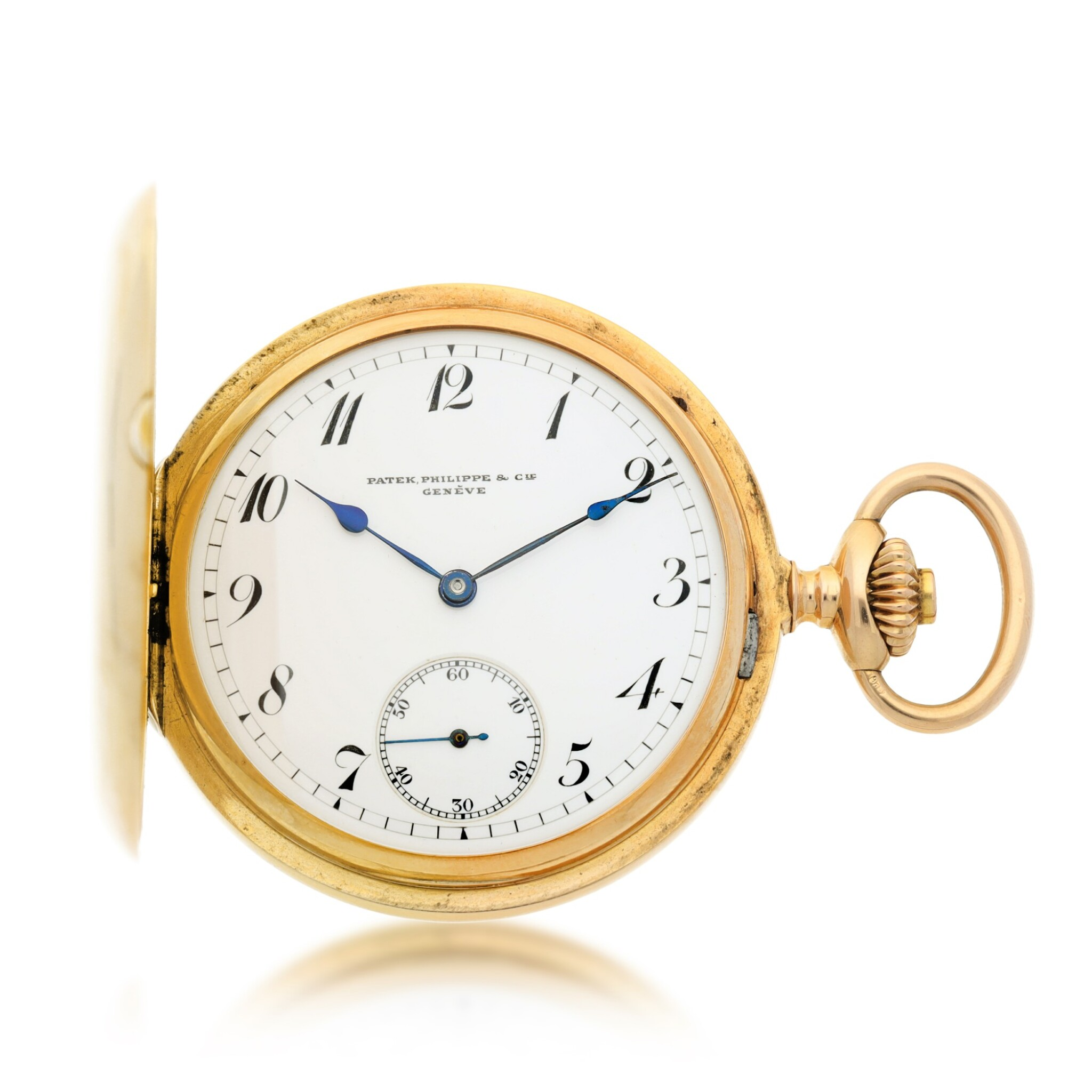 View full screen - View 1 of Lot 35. PATEK PHILIPPE |  A PINK GOLD HUNTING CASED WATCH, MADE IN 1902.