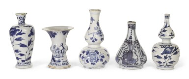 FIVE DUTCH DELFT BLUE AND WHITE SMALL VASES | LATE 17TH/ EARLY 18TH CENTURY