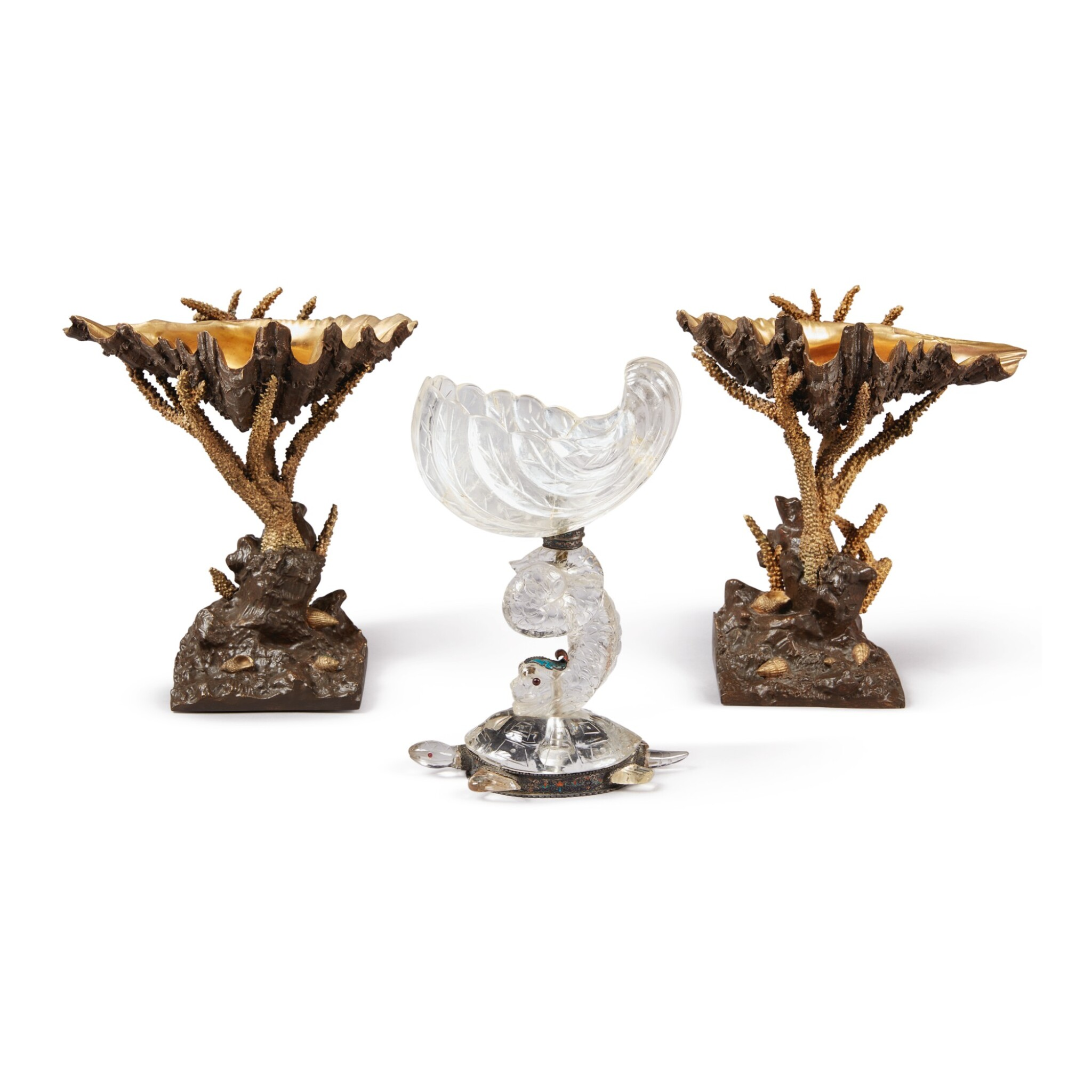 A PAIR OF SHELL AND CORAL FORM GILT AND PATINATED METAL SWEETMEAT DISHES, 20TH CENTURY, TOGETHER WITH A VIENNESE ROCK CRYSTAL AND ENAMEL RENAISSANCE REVIVAL SWEETMEAT DISH, CIRCA 1870