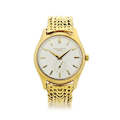 View 1. Thumbnail of Lot 26. REFERENCE 2526 A YELLOW GOLD AUTOMATIC WRISTWATCH WITH BRACELET AND 'FIRST-SERIES' ENAMEL DIAL, MADE IN 1954.