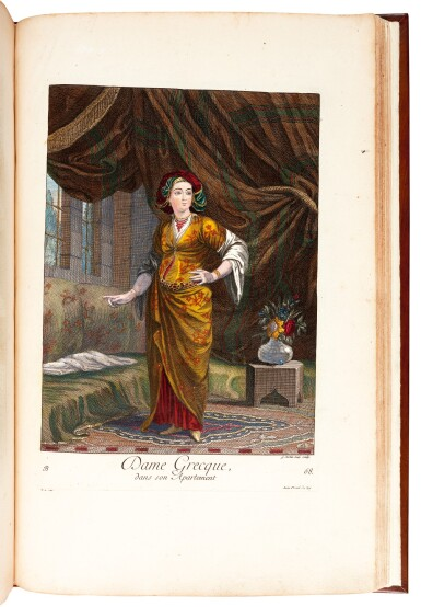 View 2. Thumbnail of Lot 64. Le Hay & Ferriol. Recueil de cent estampes. Paris, 1714. folio. hand-coloured plates. mottled calf gilt by Aquarius.